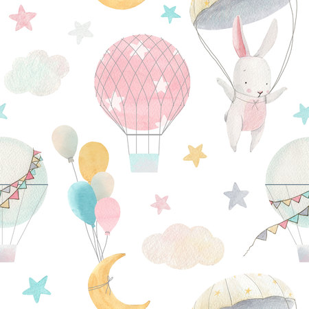 Watercolor cute baby pattern Stock Photo