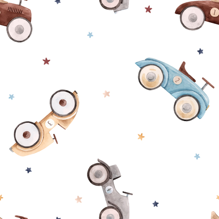 Beautiful vector seamless pattern with watercolor baby toy cars Ilustrace