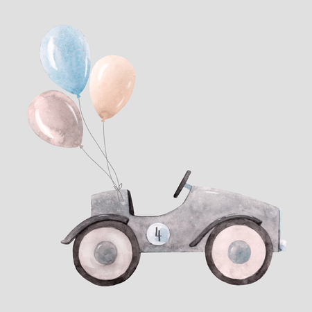 Beautiful vector illustration with watercolor baby toy cars