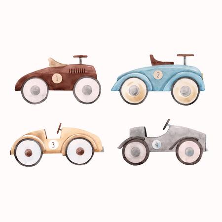 Ilustración de vector hermoso con coches de juguete de bebé acuarela