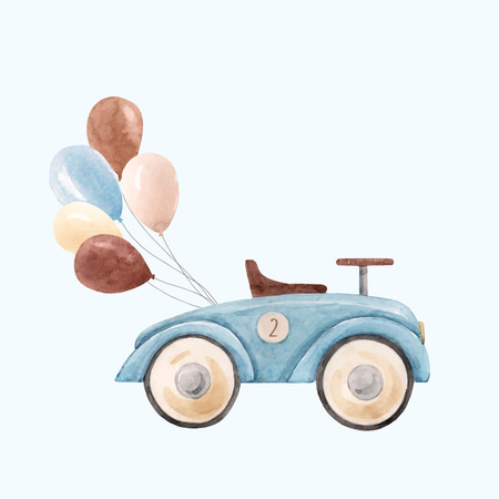 Watercolor baby car vector illustration Foto de archivo - 123352226