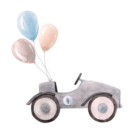 Watercolor baby car illustration