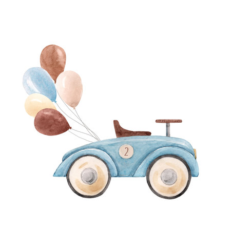Watercolor baby car illustration