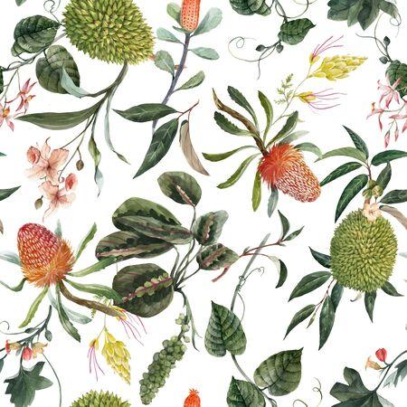 Schönes Vektor nahtloses Muster mit Aquarell exotischen tropischen Blumen Palme Blätter Dschungel Pflanzen leaves