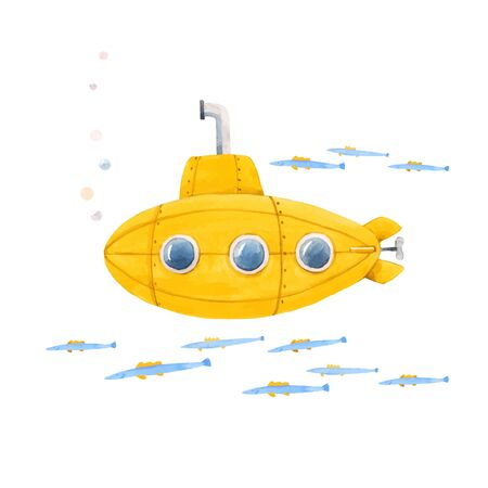Beautiful vector illustration with watercolor sea life underwater submarine Çizim