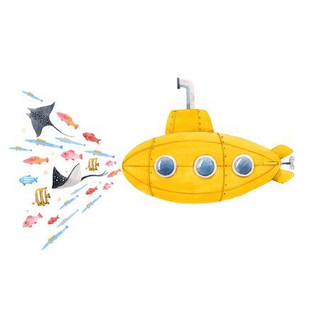 Beautiful vector illustration with watercolor sea life underwater submarine Illusztráció