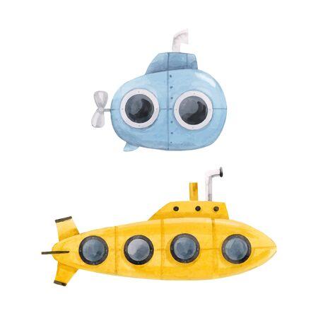 Bella illustrazione vettoriale con sottomarino subacqueo di vita marina dell'acquerello Vettoriali