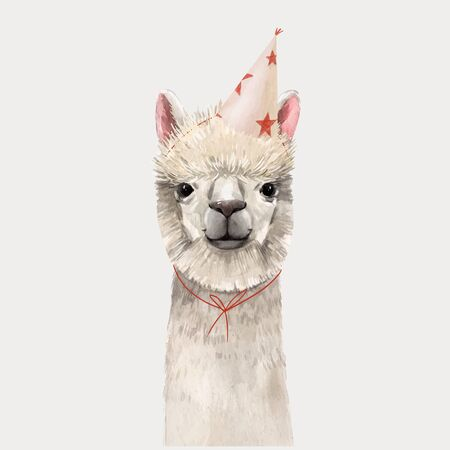 Beautiful watercolor hand drawn lama head vector portrait Illustration