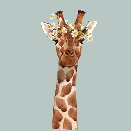 Beautiful watercolor hand drawn giraffe head vector portrait Иллюстрация
