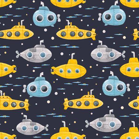 Beautiful vector seamless pattern with watercolor sea life underwater submarine illustrations Vektorové ilustrace