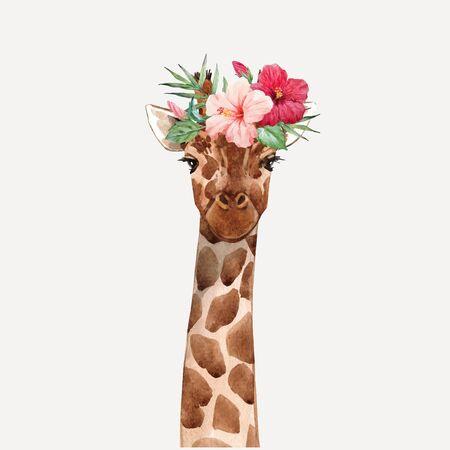 Hermoso retrato de vector de cabeza de jirafa dibujado a mano acuarela