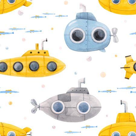 Schönes Vektor nahtloses Muster mit Aquarell Unterwasser-U-Boot-Illustrationen im Meer