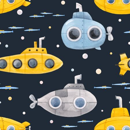 Beautiful vector seamless pattern with watercolor sea life underwater submarine illustrations