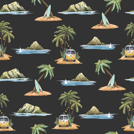 Beautiful vector seamless pattern with watercolor tropical palms flowers beach surfing mountain
