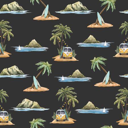 Patrón transparente de vector hermoso con acuarela palmeras tropicales flores playa surf montaña Ilustración de vector