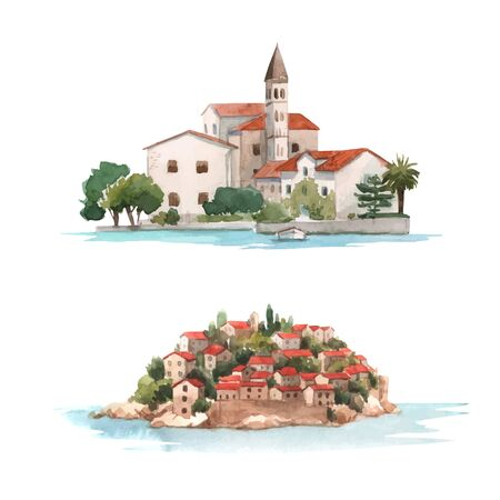 Beautiful vector watercolor mediterranean montenegro town buildings illustration