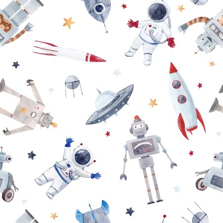 Watercolor baby space vector pattern