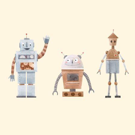 Watercolor robot vector set