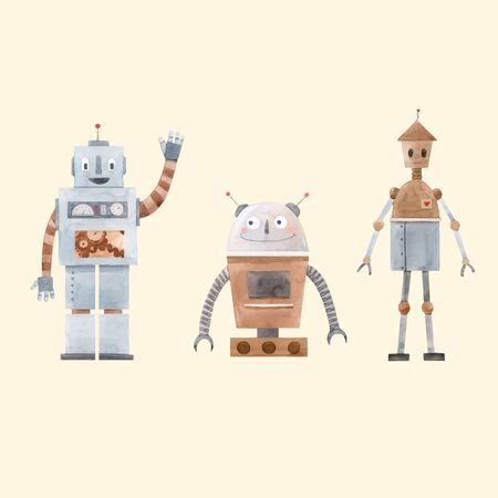 Aquarell-Roboter-Vektor-Set