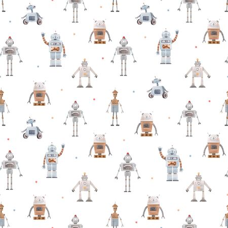 Watercolor vector baby pattern with robots