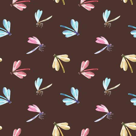 Beautiful vector seamless pattern with watercolor colorful dragonflies Çizim