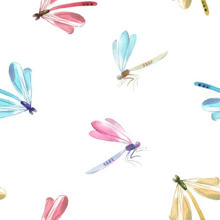 Watercolor dragonfly pattern Foto de archivo - 128116841