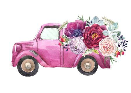 Watercolor car illustration