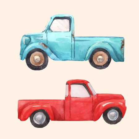 Watercolor car pick up vector illustration