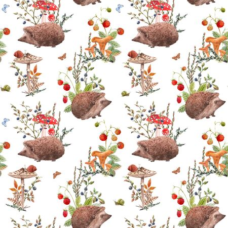 Watercolor autumn forest pattern Foto de archivo - 129212871