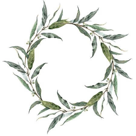 Watercolor laurel wreath Stockfoto