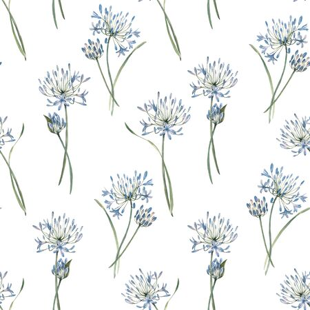 Watercolor allium floral seamless pattern
