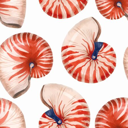 Watercolor sea life nautilus shell vector pattern