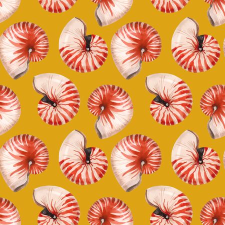 Beautiful vector seamless pattern with red watercolor sea life nautilus shell