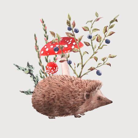 Illustrazione vettoriale di riccio dell'acquerello