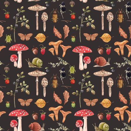 Beautiful vector seamless pattern with autumn forest hedgehog mushroom Иллюстрация