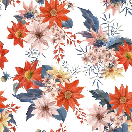 Beautiful vector seamless pattern with watercolor hand drawn floral bouquet composition flowers 免版税图像 - 131142827