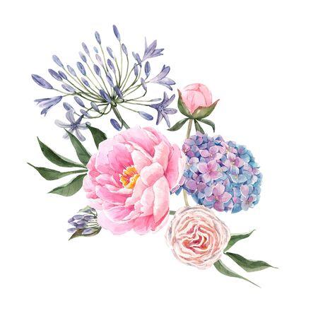 Watercolor floral bouquet composition Фото со стока