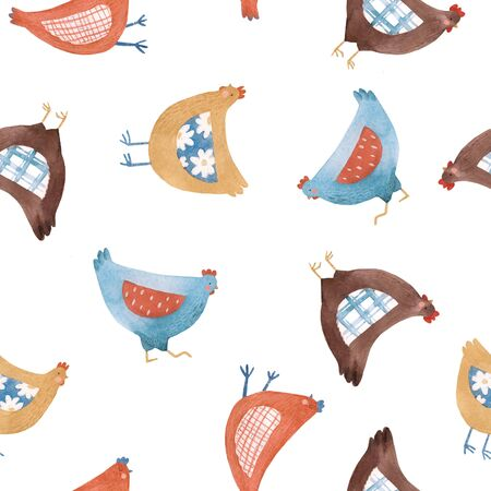 Seamless pattern with nice cute watercolor chicken hen bird in rural rustic country style Stok Fotoğraf