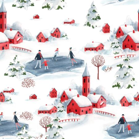 Watercolor seamless pattern winter snowy christmas time red house town landscape fir trees