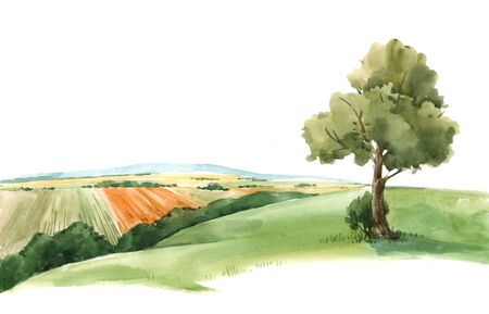 Watercolor hand drawn scenery landscape view paysage with green field and tree