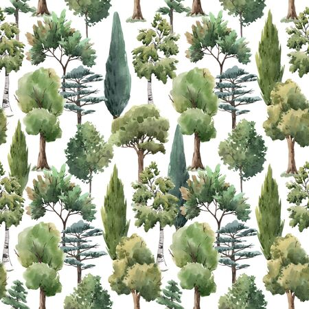 Watercolor tree seamless pattern forest oak fir birch, thuja linden baobab pine