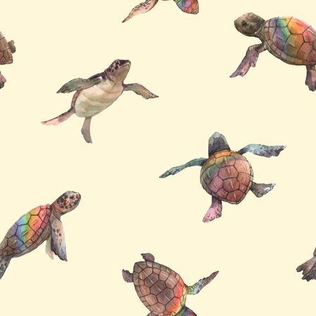 Aquarell Regenbogen kleine Babyschildkröten buntes nahtloses Muster
