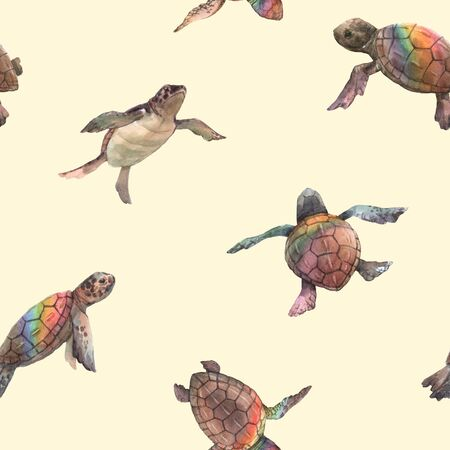 Watercolor rainbow small baby turtles colourful seamless pattern