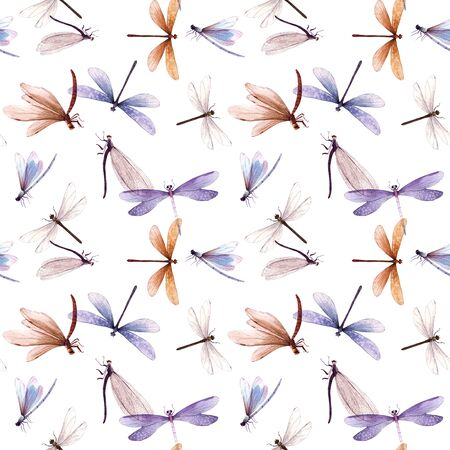 Watercolor summer dragonfly insect colorful seamless pattern