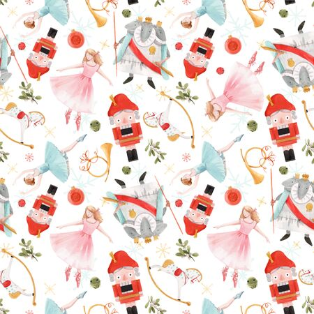 Watercolor  christmas winter nutcracker fairy tale ballet seamless pattern Ilustração