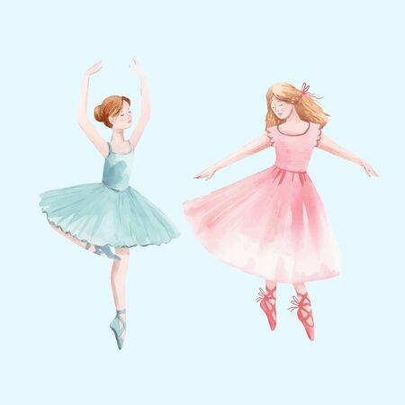 Acuarela, vector, retro, lindo, bailando, niñas, ballet, cascanueces, bailarina, clip art, aislado