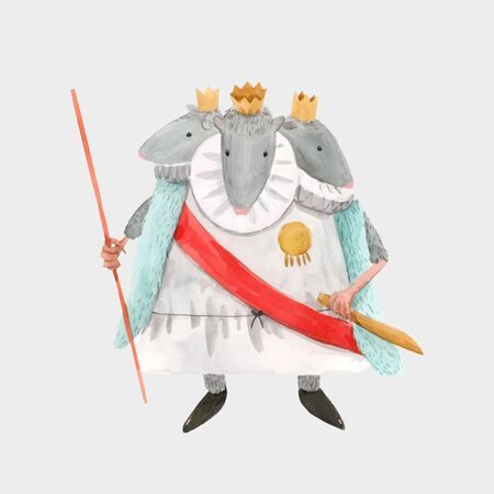 Watercolor vector mouse rat king from christmas fairy tale nutcracker ballet baby
