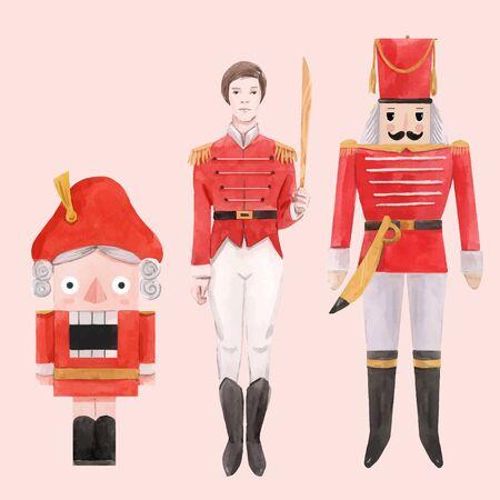 Vecteur aquarelle casse-noisette ballet noël nouvel an conte de fées personnages ensemble de soldats