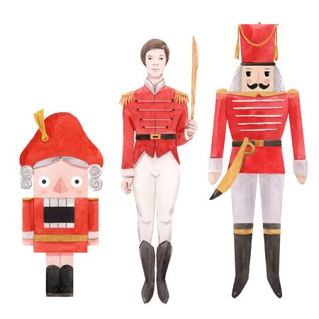 Watercolor nutcracker ballet christmas new year fairy tale characters soldiers isolated