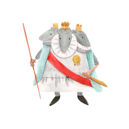 Watercolor mouse rat king from christmas fairy tale nutcracker ballet baby illustration